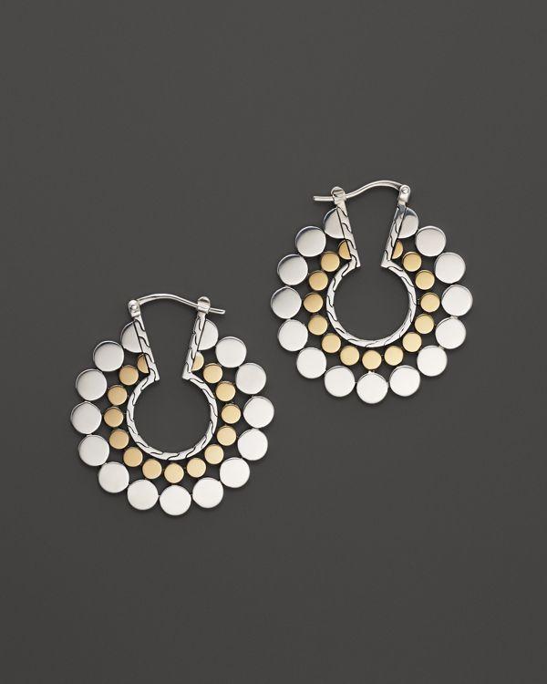 John Hardy Dot Gold And Silver Medium Side Facing Hoop Earrings Pearl Earringsdiamond Earringshoop Earringsjohn Hardycostume Jewelryfine