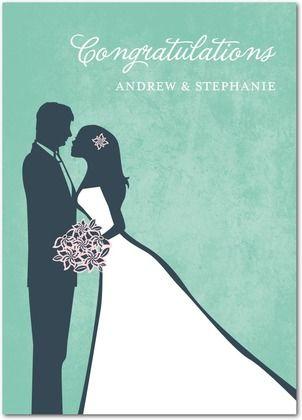 WeddingCoupleSilhouette Treat Wedding Congratulations Card