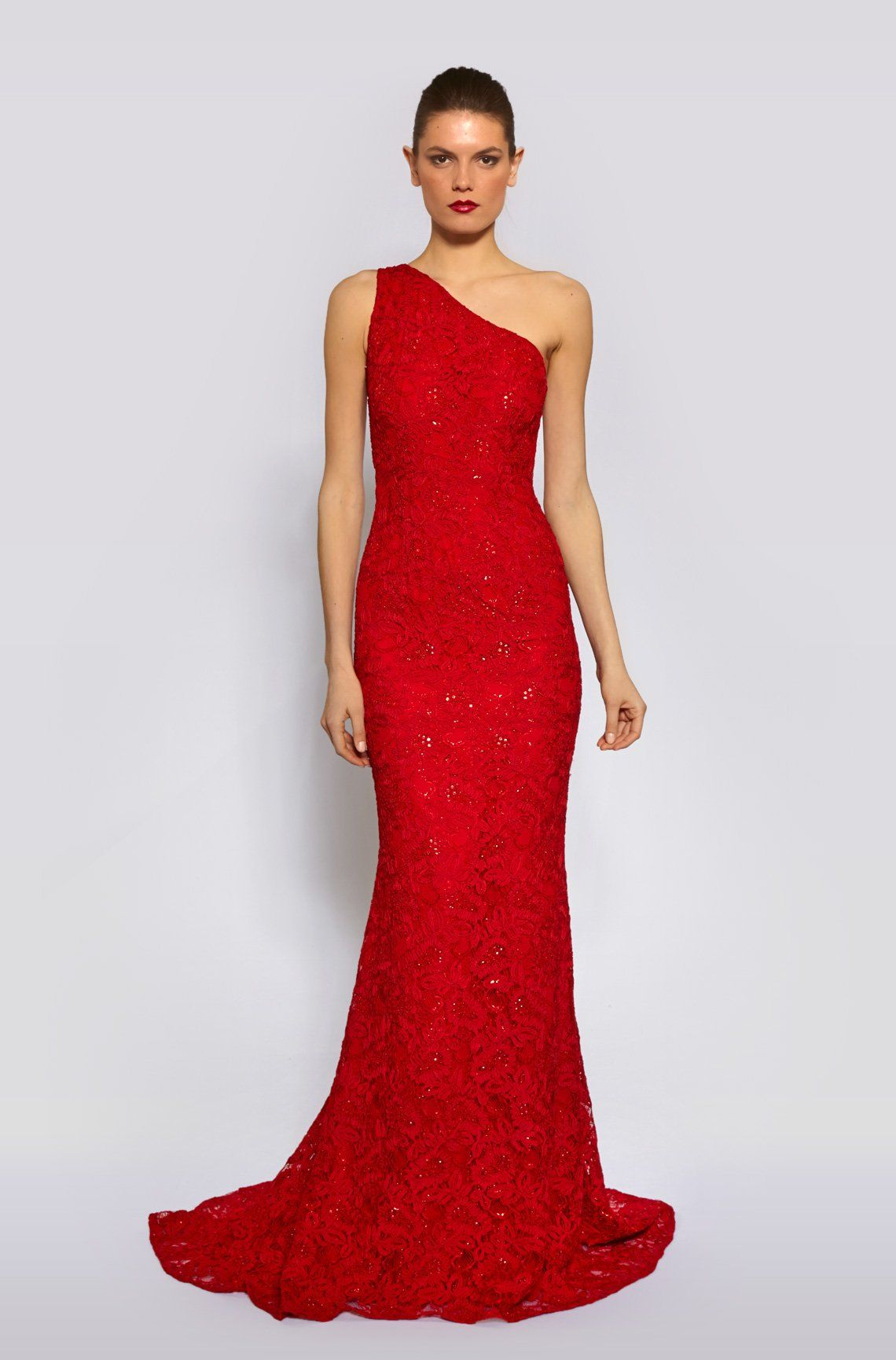 ONE SHOULDER EMBROIDEREDAND BEADED LACE in Red - Carmen Marc Valvo ...