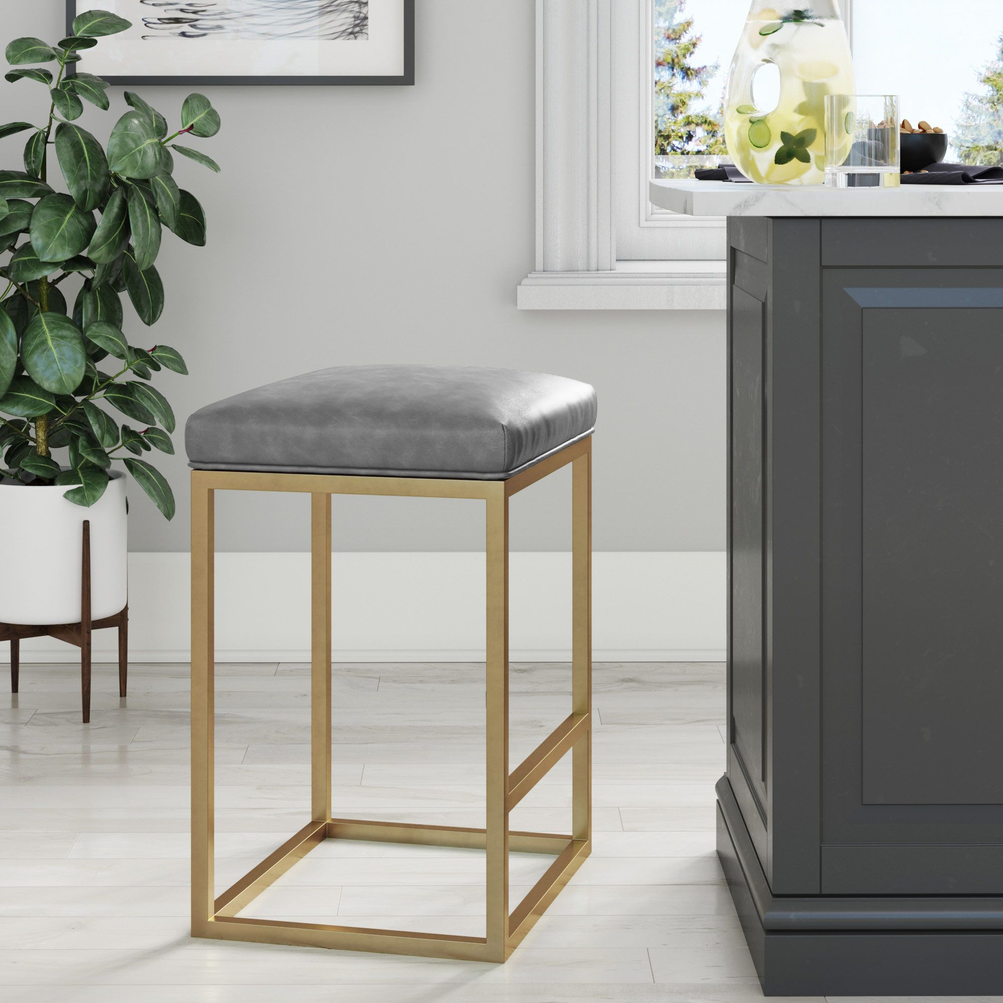 Nelson Bar Stool With Leather Cushion And Metal Base 24 Gray