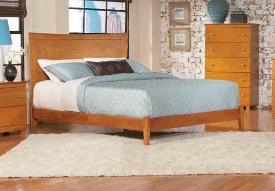 Modern Caramel Latte Wood Miami Queen Bed w/Open Foot Rail