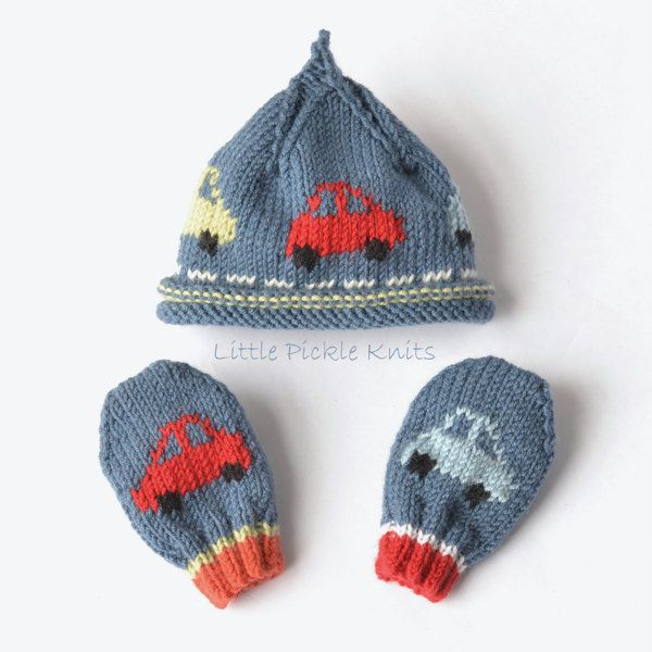Little Pickle Knits Collection by Linda Whaley. Knit this Little CarsBeanie to keep your little one cosy and warm. A fun hat that little boys will love to wear. The cars drive right around the hat.... Brrmm Brrmm! This Intarsia Knit hat shown here isknitted with Bergere De France Caline 4ply yarn on 3.25mm (US#3) needles. Choose this or another 4 Ply yarn.DebbieBliss Baby Cashmerino on 3.25mm needles can also be used withthis pattern.This easy to read pattern has separate detailed ins...