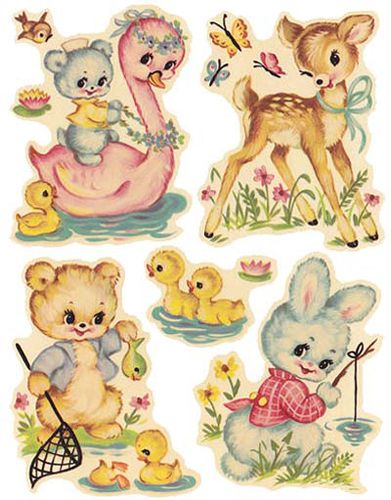 VinTaGe AsSoRTeD NuRSerY ANiMaLs ShaBby DeCALs  Vintage manga&image  Pinterest ...