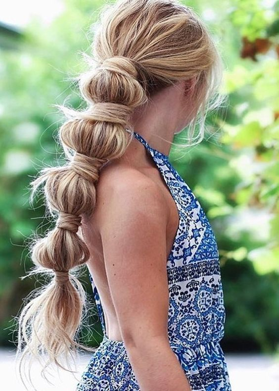 wrapped bubble ponytail | Hair styles, Bubble ponytail, Cool braid hairstyles