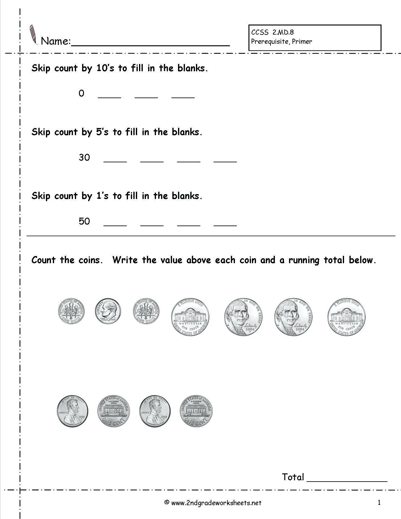Free 1st Grade Money Worksheets Pictures