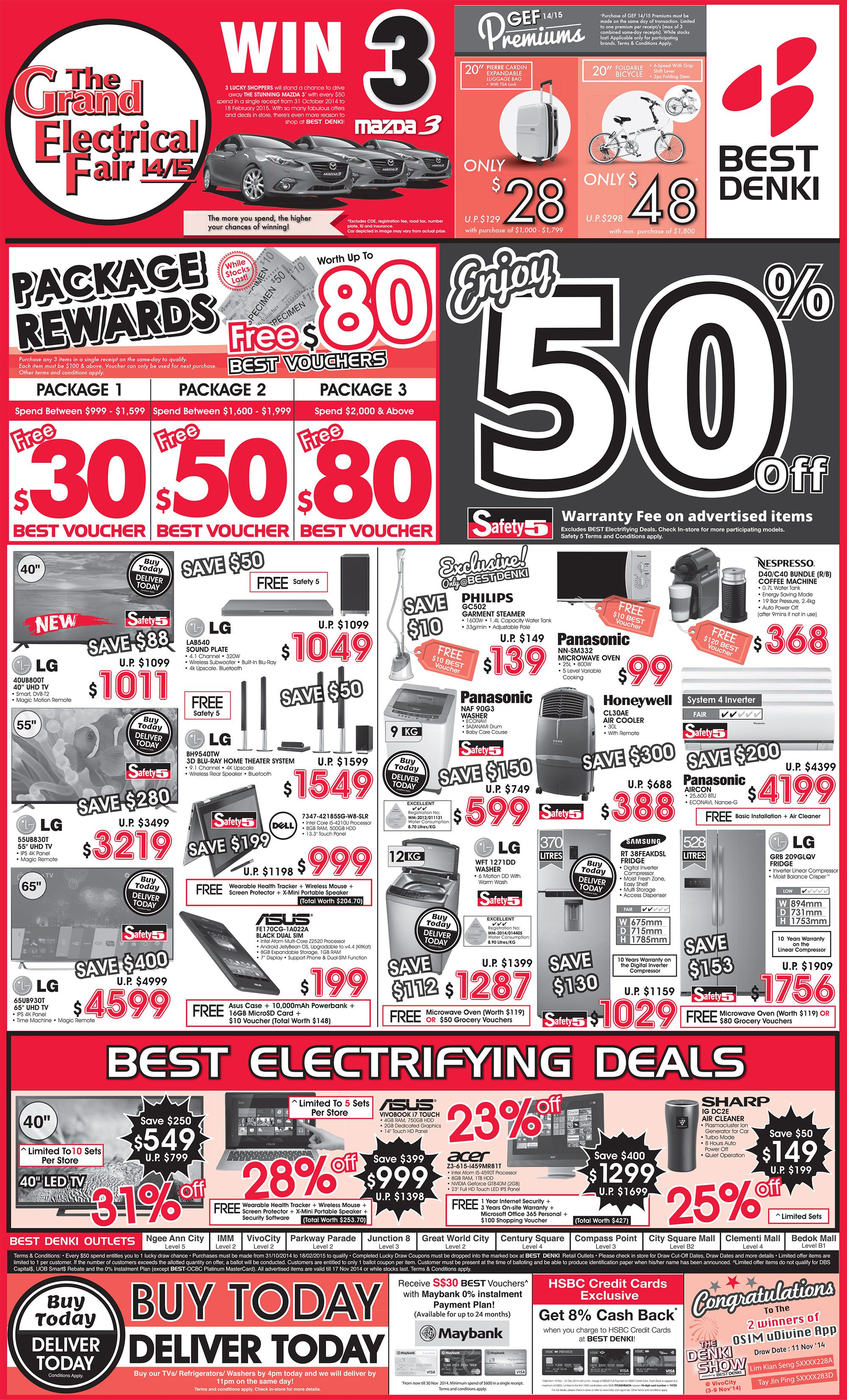 The Grand Electrical Fair 14 15 Lucky Draw Prizes Win 3 Madza 3