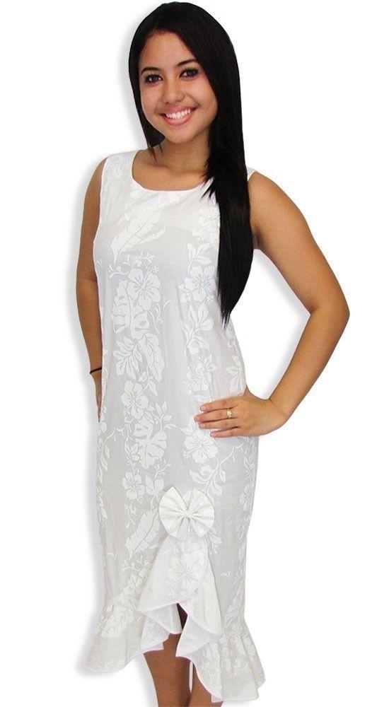 New Hawaiian Women White Wedding Tank Dress Sz XS 4XL Honolulu ...