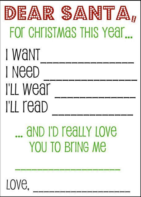 Dear Santa Printable Wish List printable christmas – Kids Christmas List Template