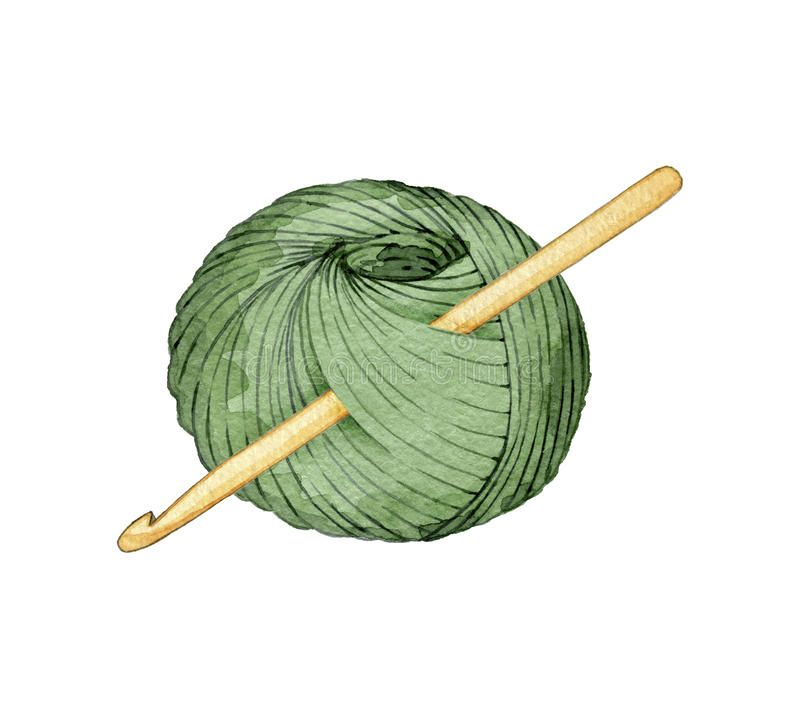 Hand Drawn Watercolor Ball Of Yarn For Knitting With A Crochet Hook On White Ba Sponsored Sponsored Sponsored Waterco Handmade Logo Crochet Hooks Yarn