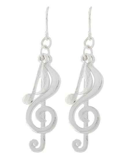 """New  Fashion Music Dangle Style With Charm Silver Tone Pierced Earrings NOT FOR CHILDREN UNDER 12 With No Tags Type: Fish Hook Size: Approximately 2"""" Long Condition: New Never Worn Free Delivery No International Shipping"""