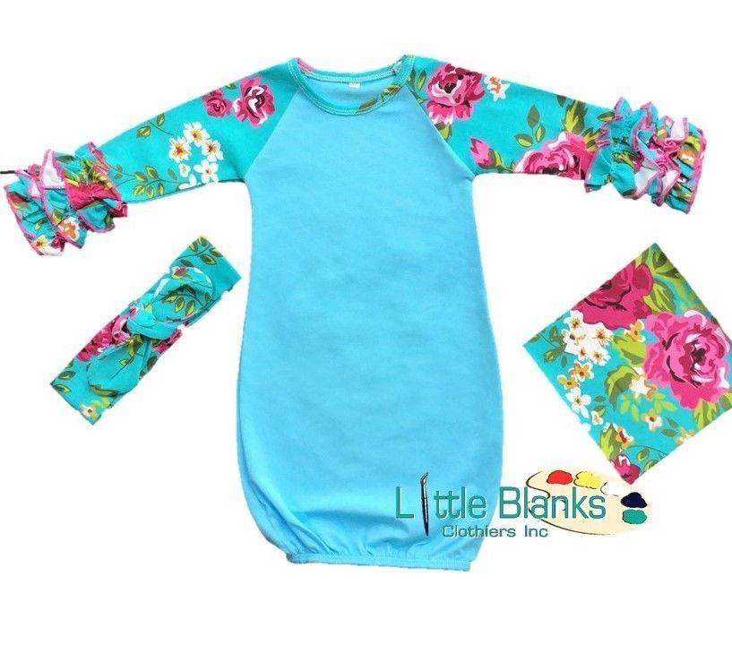 78756b62e87 Blue Infant Floral Ruffle Raglan Gown   Headband