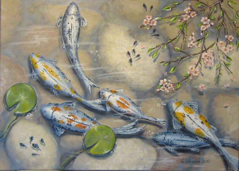 Acrylmalerei fr hling im gartenteich kunst fische bild for Fische in teich