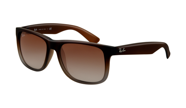 f950d38077f4 Ray Ban RB4165 Justin Sunglasses Rubber Brown on Grey Frame Gree ...
