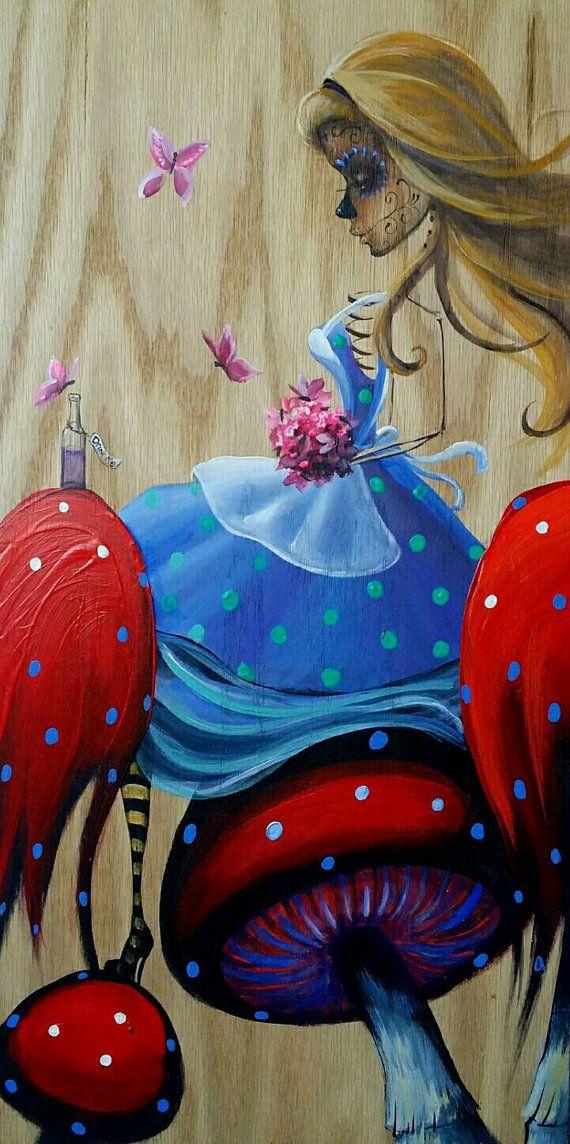 Day Of The Dead - Alice in Wonderland Mushrooms Butterflies Roses Art Hearts by Kat Tatz (Acrylic on Wood)