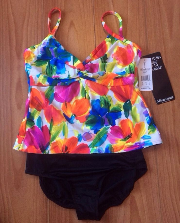 Miraclesuit Two Piece Swimsuit 18 D Cup Multicolored Black Bottoms Underwire NWT
