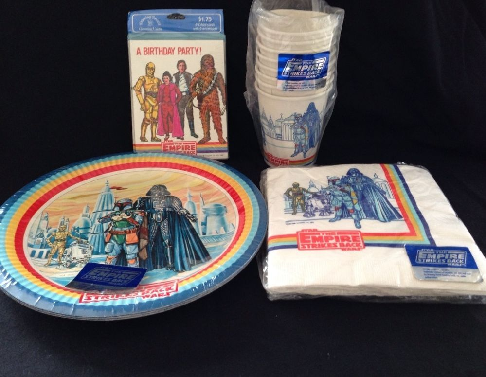 Vintage 1980 Star Wars Empire Strikes Back party supplies including cups napkins plates and invitations. Other vintage Star Wars party supplies include ... & Vintage 1980 Star Wars ESB Party Kit with 9\
