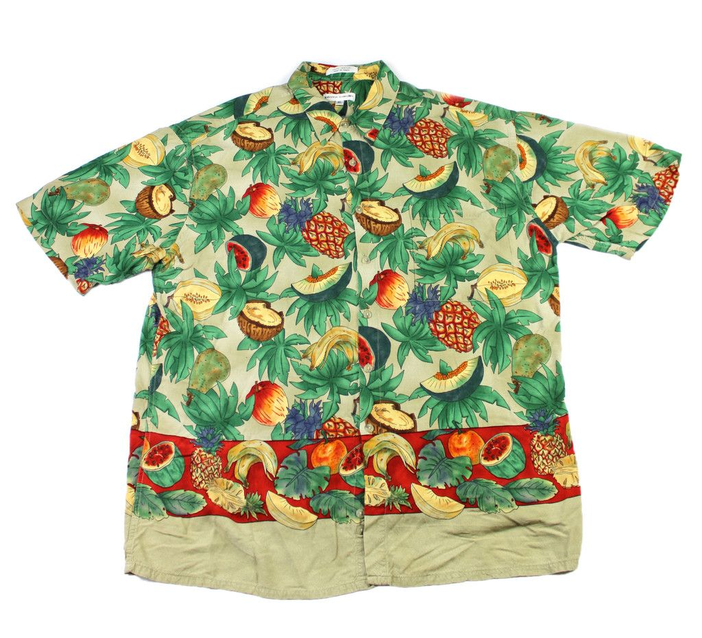 503888a8 Vintage 90s Pierre Cardin Tropical Fruits Rayon Hawaiian Shirt Mens Size  Large