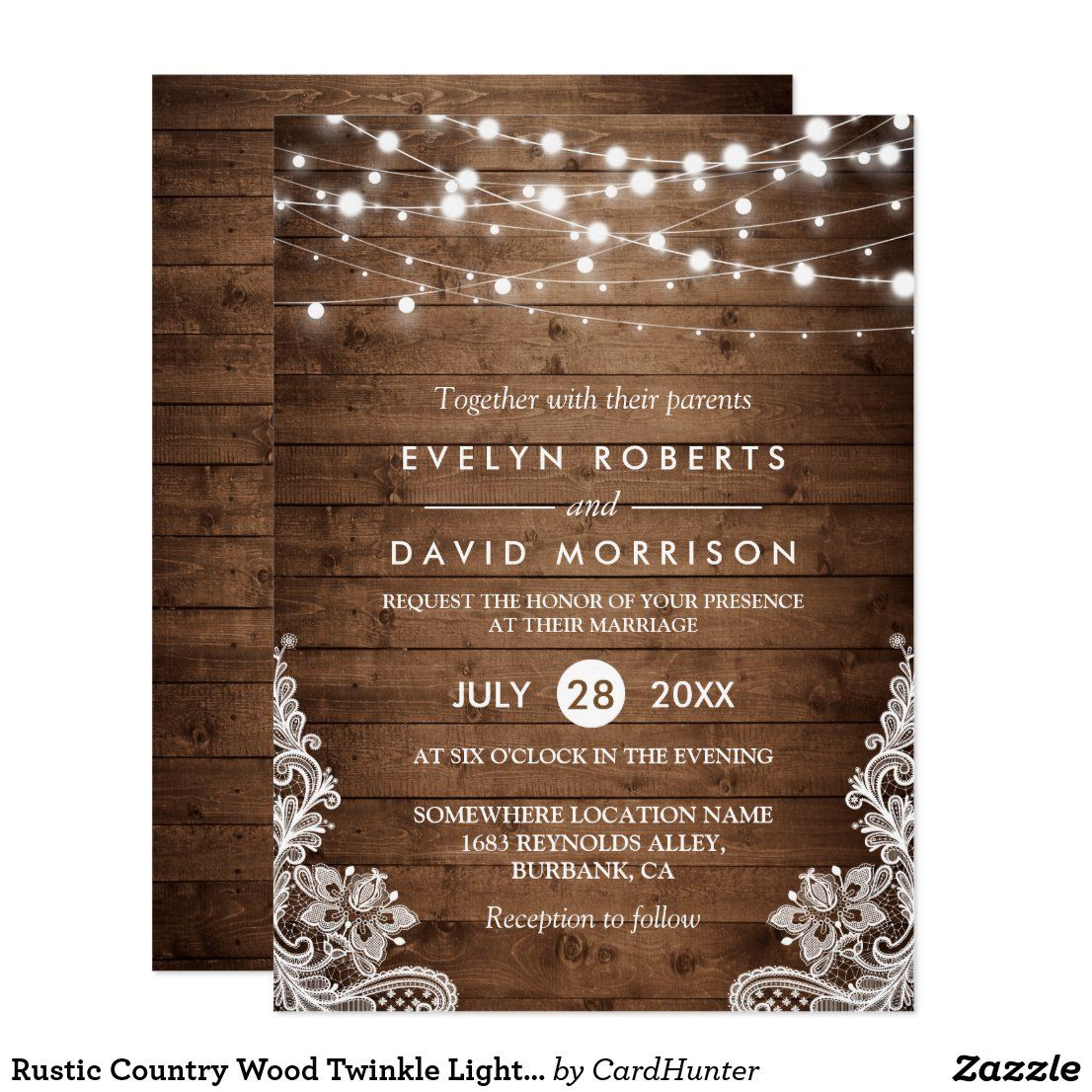 Rustic Country Wood Twinkle Lights Lace Wedding Invitation | Zazzle.com