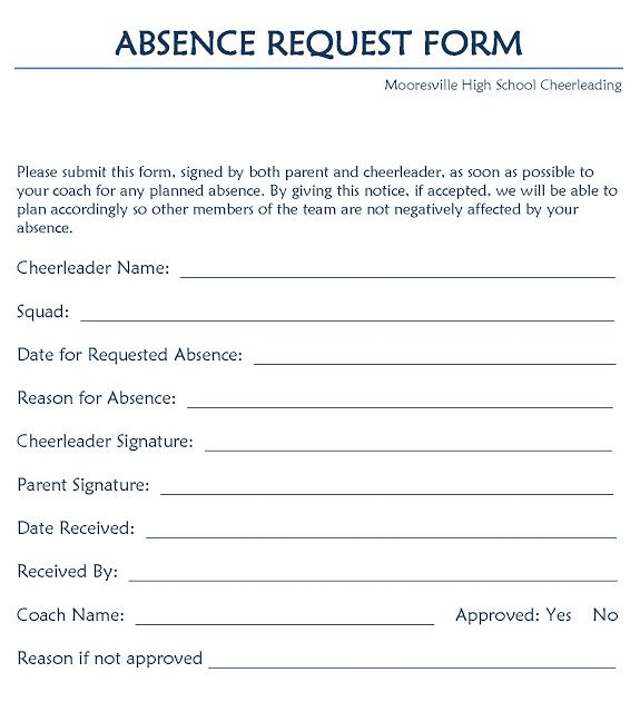 Leave Request Form  Application For Leave Form