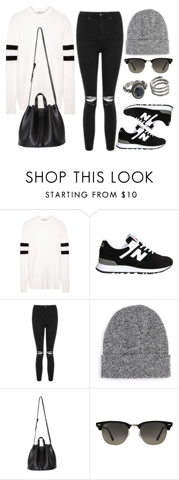 """""""Style #11598"""" by vany-alvarado ❤ liked on Polyvore featuring T By Alexander Wang, New Balance, Topshop, Topman, Ray-Ban and Mudd"""