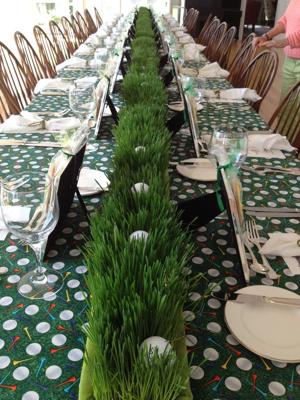 wheat grass and golf ball long centerpiece  u2013 shared on