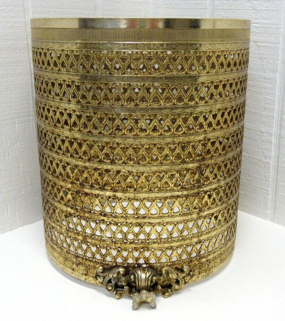 Vintage filigree trash can waste basket cover gold by for Gold bathroom wastebasket