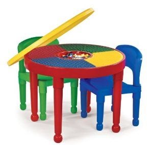 Tot Tutors Round Plastic Construction Table and 2 Chairs Primary Colors Our sturdy easy-to-clean plastic table and 2 chair set features a  sc 1 st  Pinterest & Tot Tutors CT599 2-in-1 Round Plastic Construction Table and 2 ...