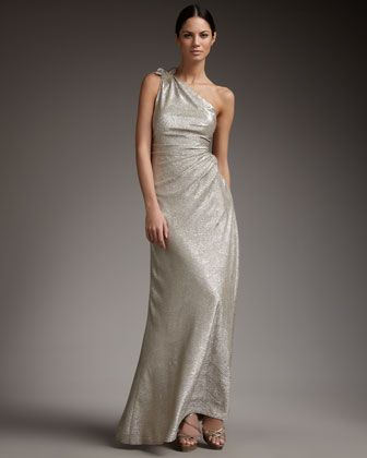 Metallic Wedding Guest Dresses One Shoulder Long Champagne Silver