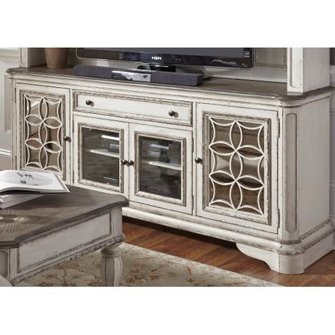74 Inch Antique White TV Stand Magnolia Manor (With