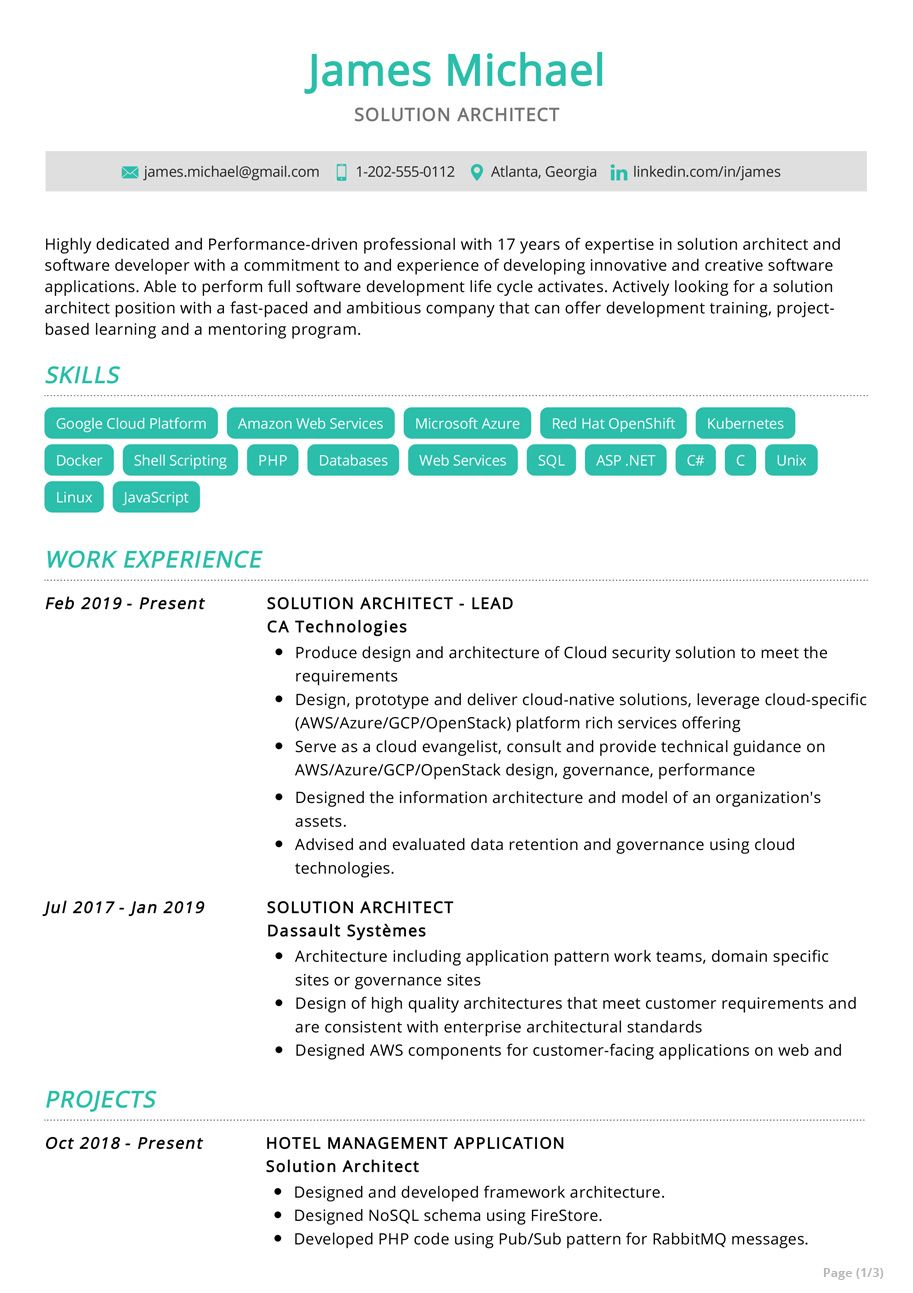 The Most Recommended Professional Solution Architect Resume This Sample Resume Comes With Best Res Architect Resume Solution Architect Architect Resume Sample