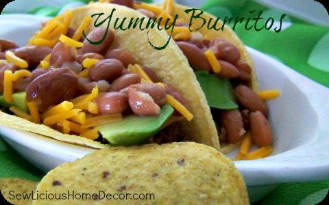 Yummy burritos made with chicken or beef.  SewLiciousHomeDecor.com