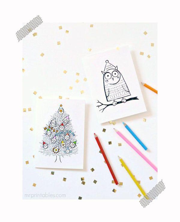 Tarjetas de Navidad para imprimir y colorear | Navidad, Ideas para ...