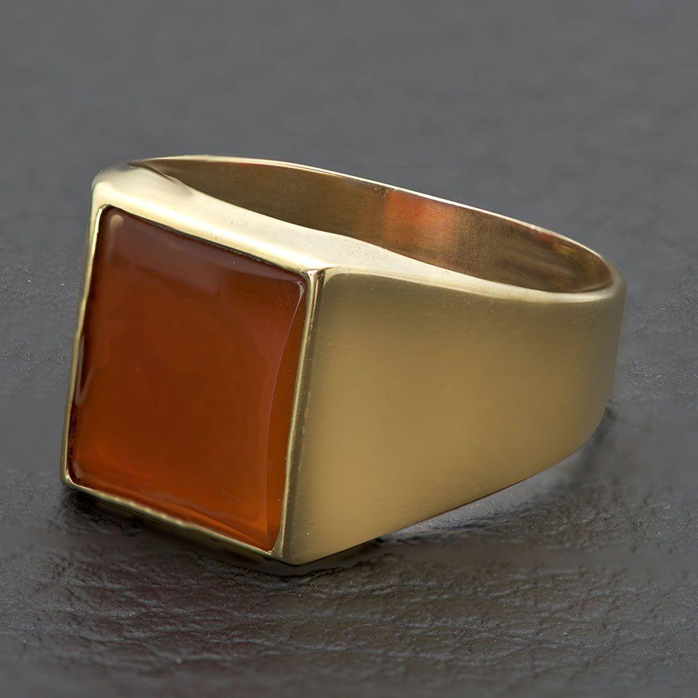 Χρυσό ανδρικό δαχτυλίδι Κ14 με πορτοκαλί πέτρα.  9521b64871f