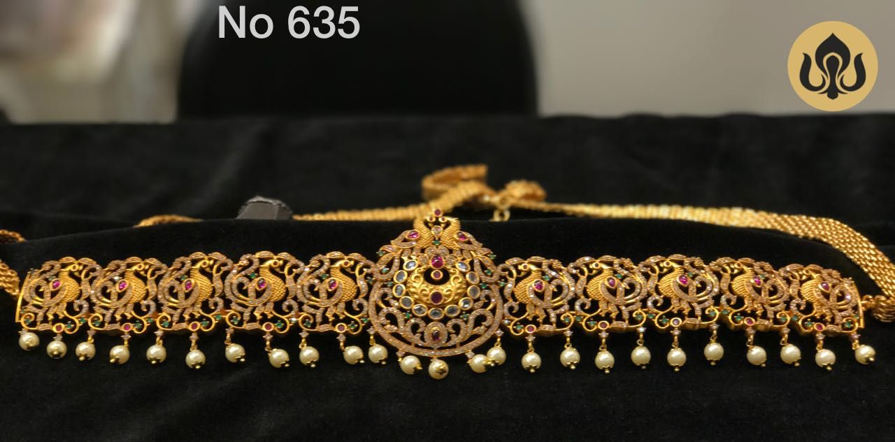 Gold vaddanam oddiyanam kammarpatta waisbelt designs south indian - South Indian Jewellery Adult Free Size Waist Belt Hip Belt Cz Chain W