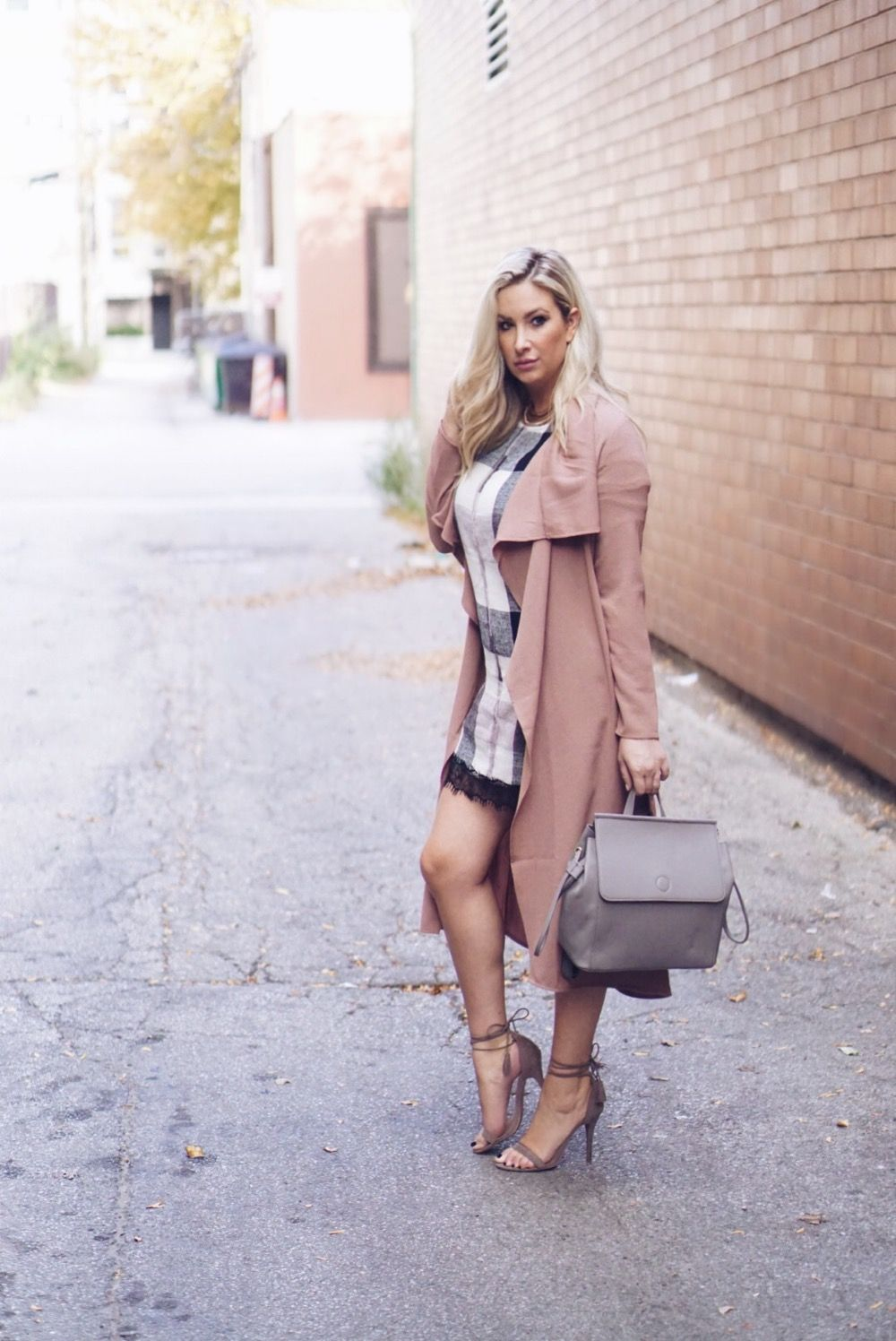 Layered blush fall duster and shift dress   Mad for Plaid on Her Tasty Life