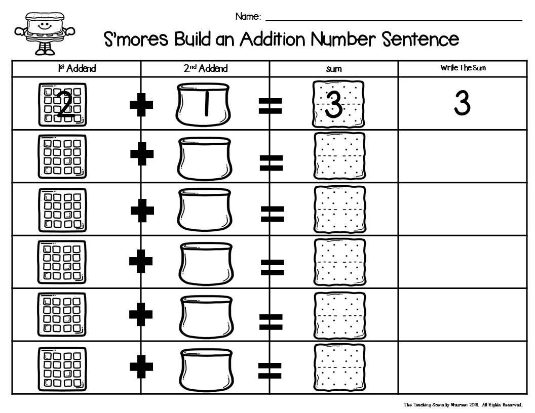 S Mores Build A 2 Addend Number Sentence Math Center Game