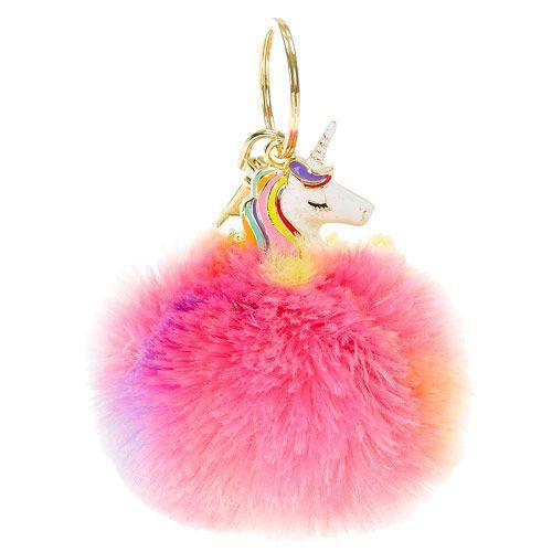 Rainbow Unicorn Pom Key Chain Coisas De Maquiagem Unicornios Fofos