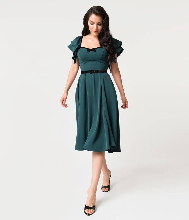 ffe8e609ea24 Micheline Pitt For Unique Vintage Hunter Green Carmelita Swing Dress ...