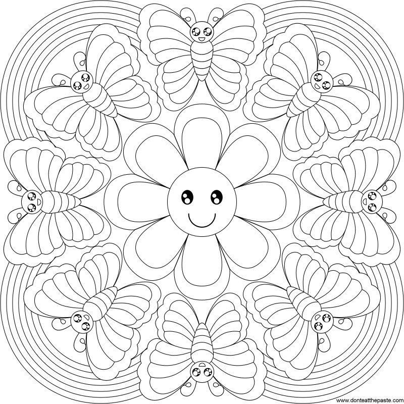 Butterfly Rainbow Mandala To Color Paginas Para Colorear De Flores Mandalas Para Colorear Y Mandalas Para Ninos