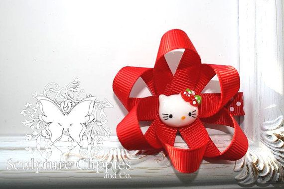Hello Kitty Belle Flower Sculpture Ribbon Hair Bow. Choice Hot Pink or Red.  Free Ship Promo.