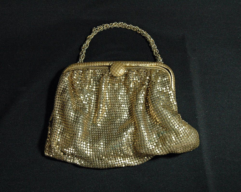 Vintage Gold Mesh Purse with Chain Handle by AnnWoodallStudios on Etsy