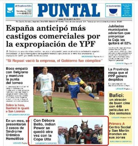 La Copa Utta de Río Cuarto 2012 reflejada en la tapa del diario El ...