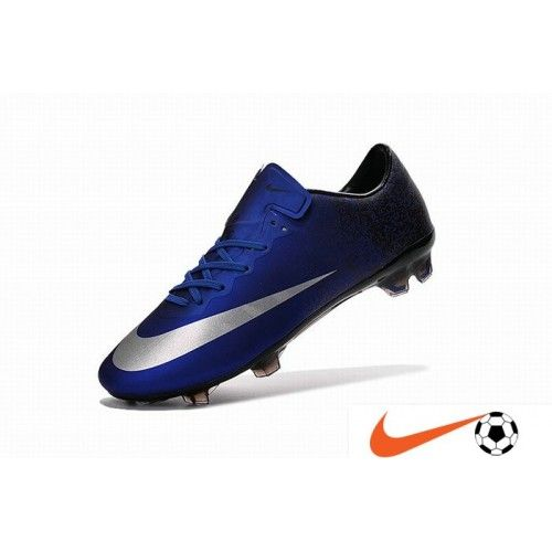 competitive price c8d96 49230 Soldes Nike Mercurial Vapor X FG CR7 Firm-Ground Chaussure De Foot Deep Bleu  Noir Metallic Argent - Nike Mercurial