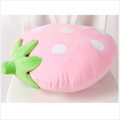 pink strawberry kawaii pillow