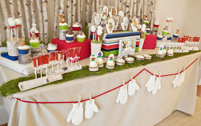 Mitten Party Dessert Table for Kids | Kids dessert table, Dessert table, Party dessert table