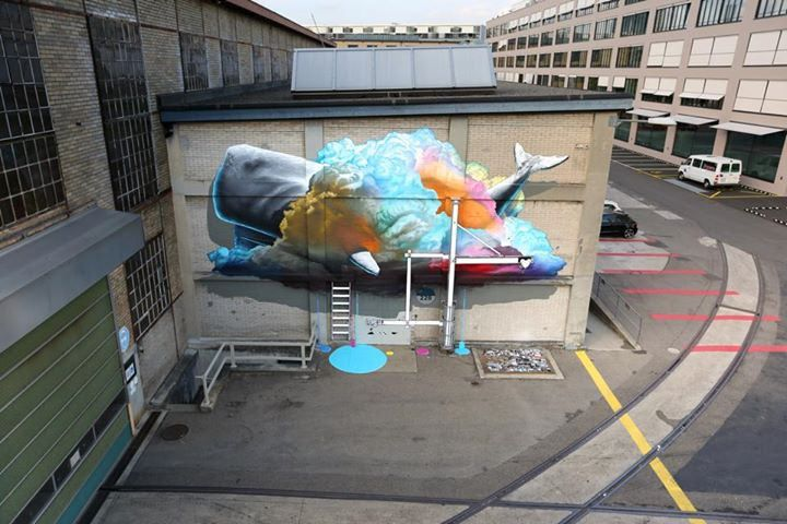 """""""Interpretive Machine n°1"""" Realized in the context of the Urban Art Festival of Winterthur (CH). #nevercrew #urbanartfestival #streetart #urbanart #winterthur Winterthur750"""