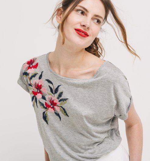 T Shirt mit Stickerei grau gemustert Promod | Moda bordado