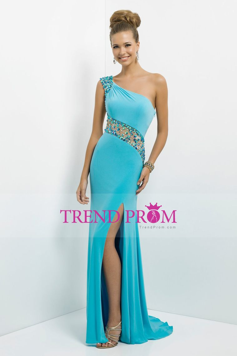 2015 Prom Dresses Mermaid One Shoulder With Slit And Beading Sweep ...