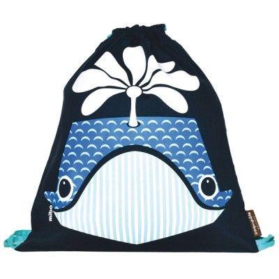 Sac à dos enfant maternelle en coton bio motif baleine / Kids backpack for…