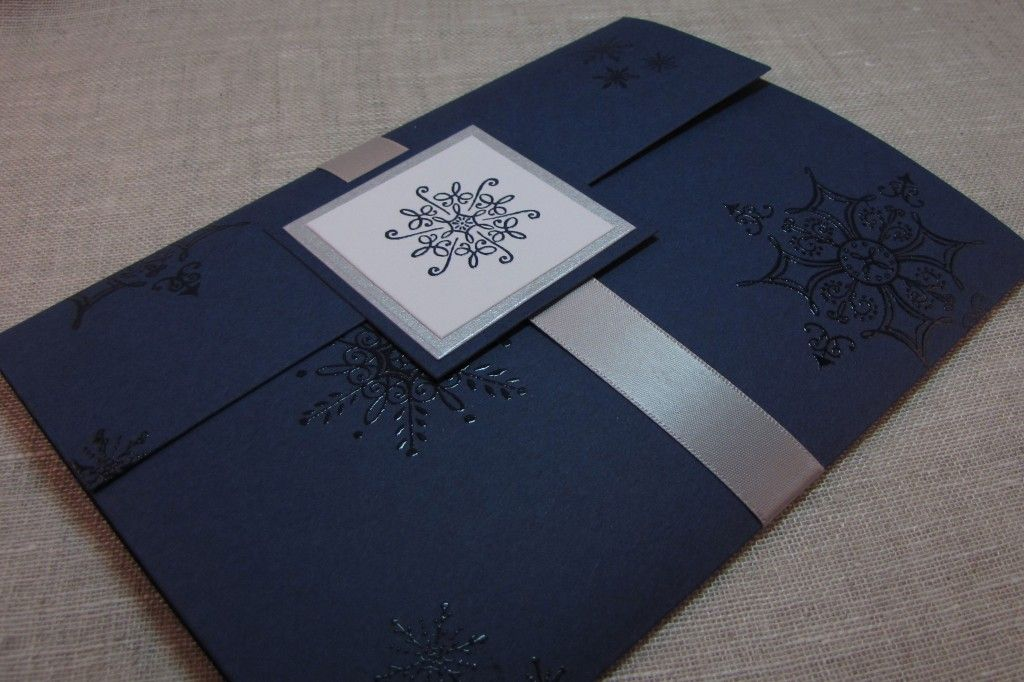 navy blue and silver snowflake handcrafted pocket fold wedding, Wedding invitations